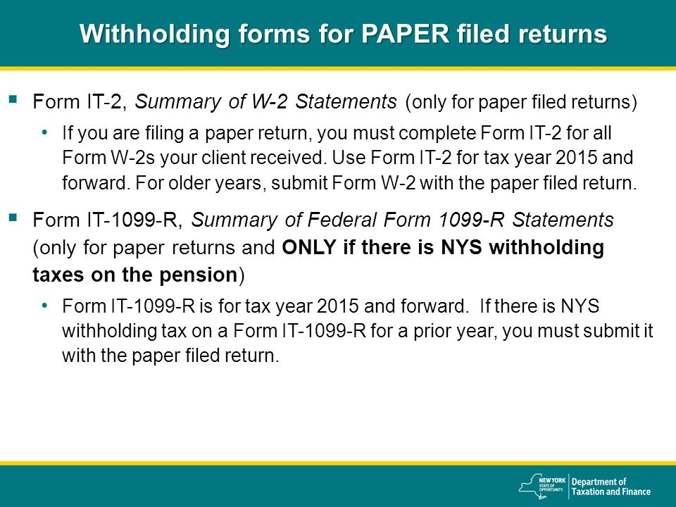 New York State Department of Taxation and Finance 2015 ...