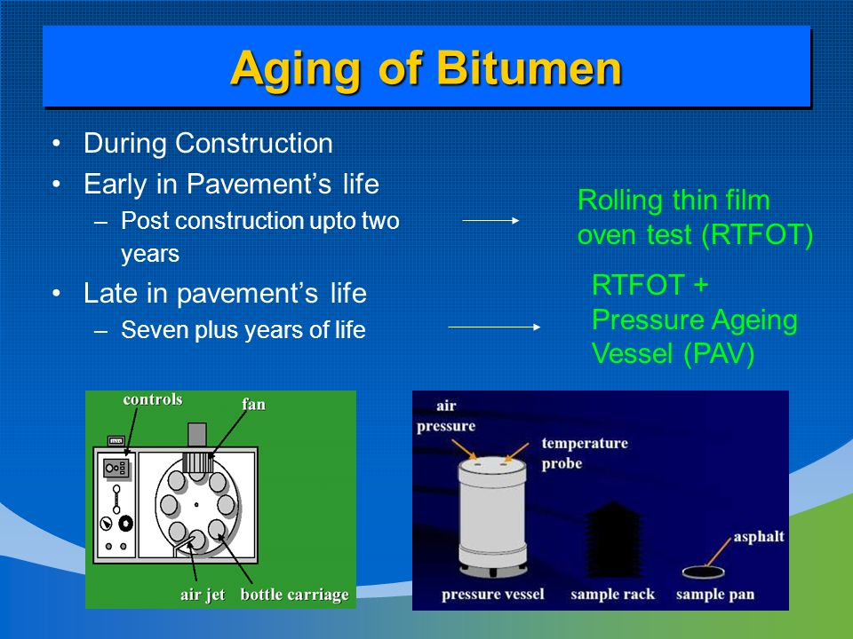 ageing of bitumen The bitumen binders were aged by rolling thin film oven (rtfot) to simulate  short-term aging and pressure aging vessel (pav) to simulate.