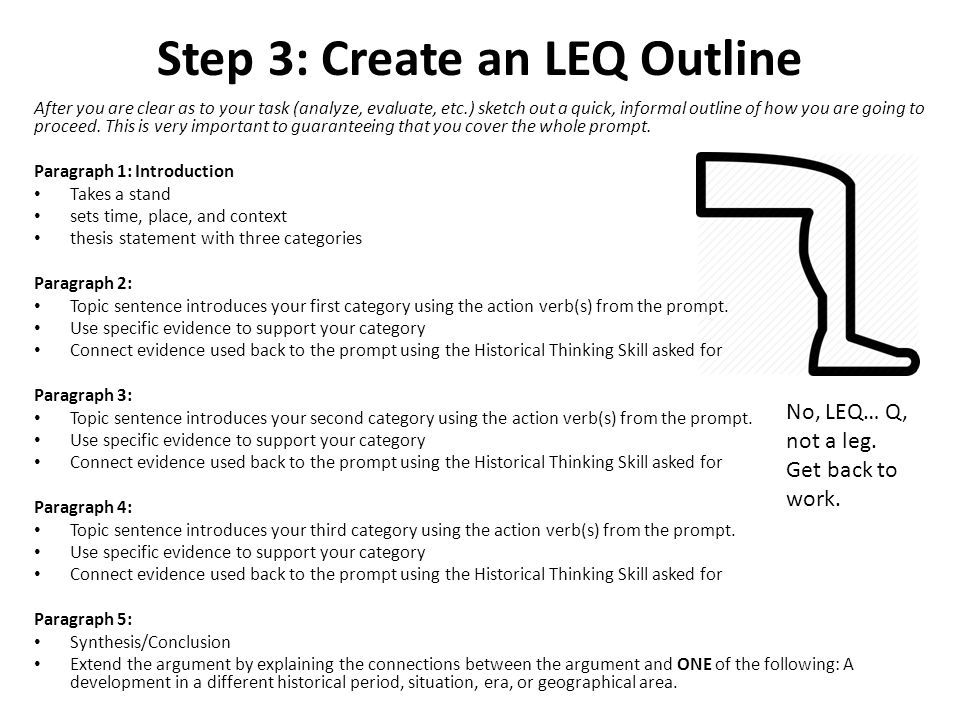 writing the leq Thus, when writing an effective essay, you must be able to write a  a coherent  essay response for the leq and about 55 minutes for the dbq.