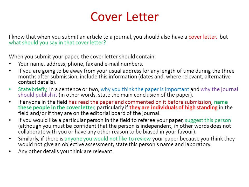 Sample Coverletter