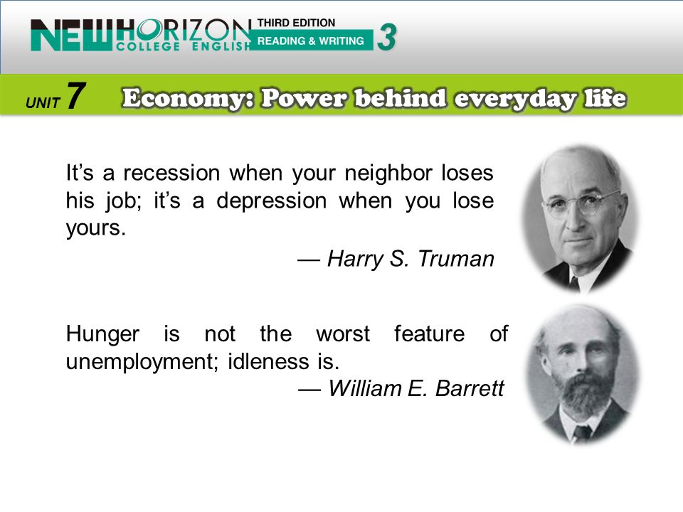 3 7 Economy: Power behind everyday life — Harry S. Truman
