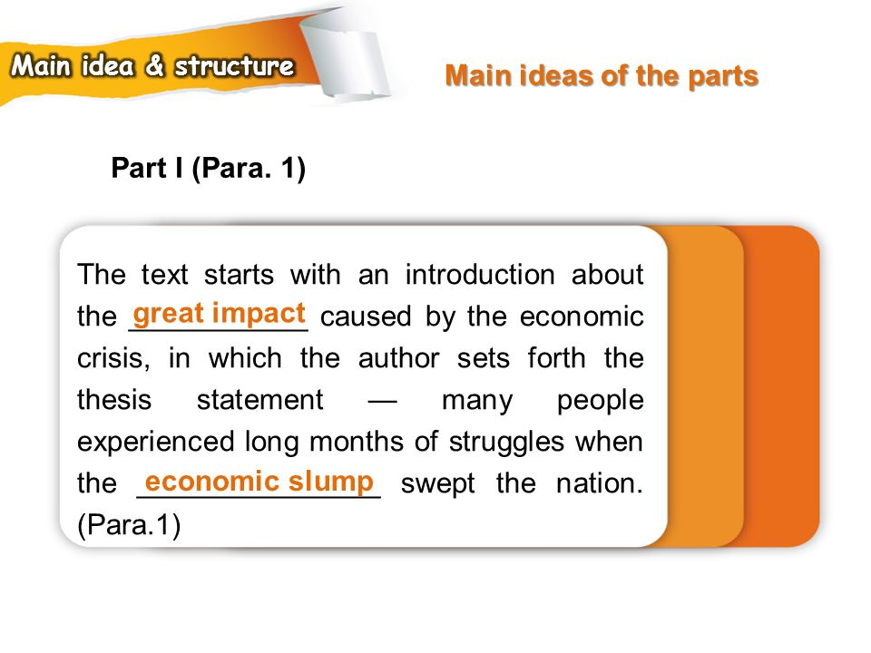 Main ideas of the parts Part I (Para. 1)
