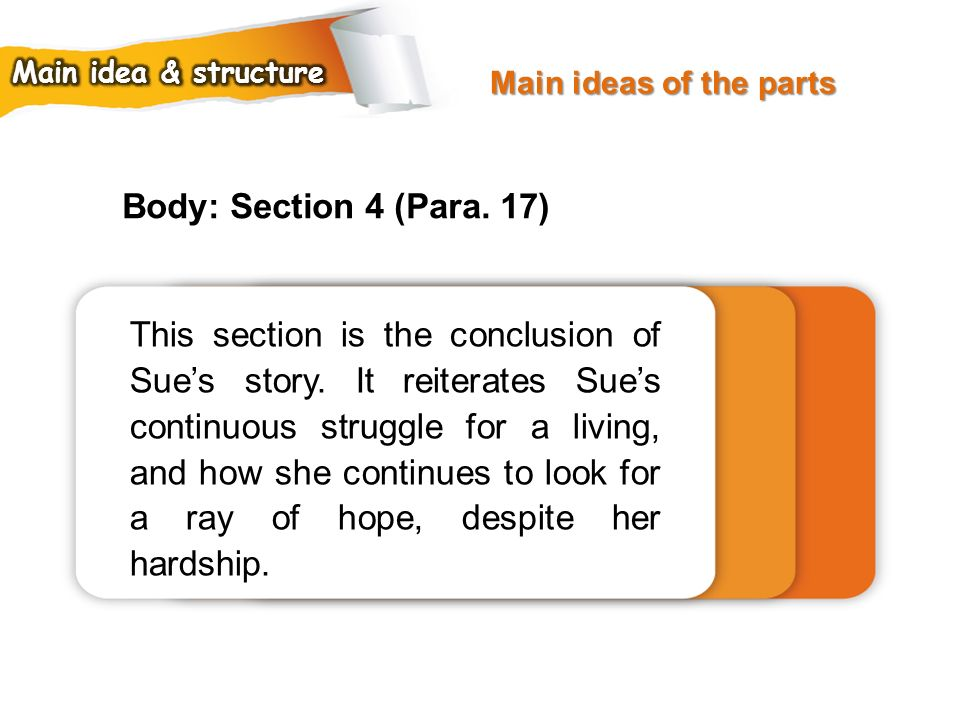 Main ideas of the parts Main idea & structure. Body: Section 4 (Para. 17)