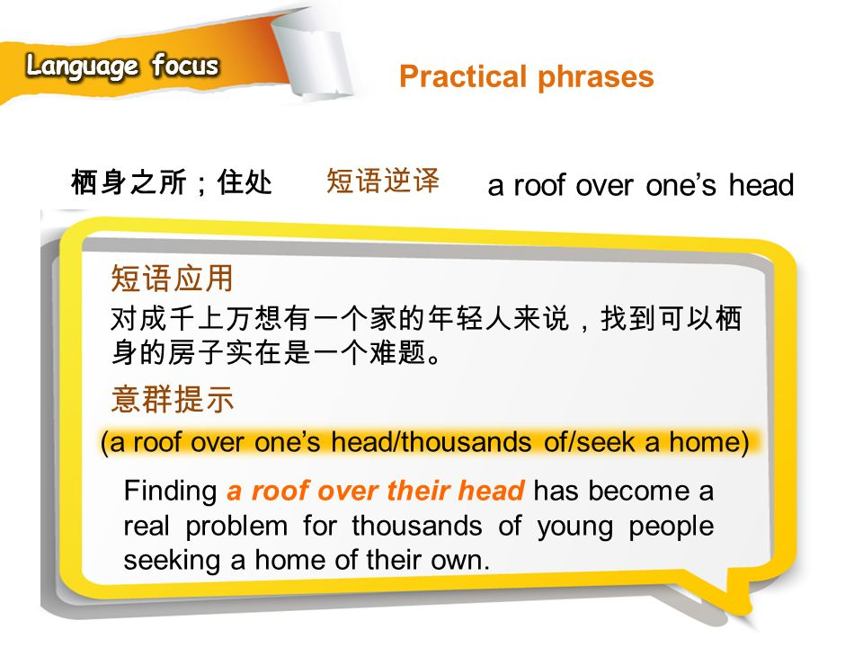 Practical phrases a roof over one's head 短语应用 意群提示 栖身之所;住处 短语逆译
