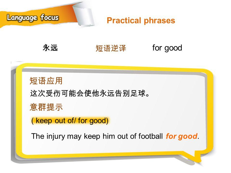 Practical phrases for good 短语应用 意群提示 永远 短语逆译 这次受伤可能会使他永远告别足球。