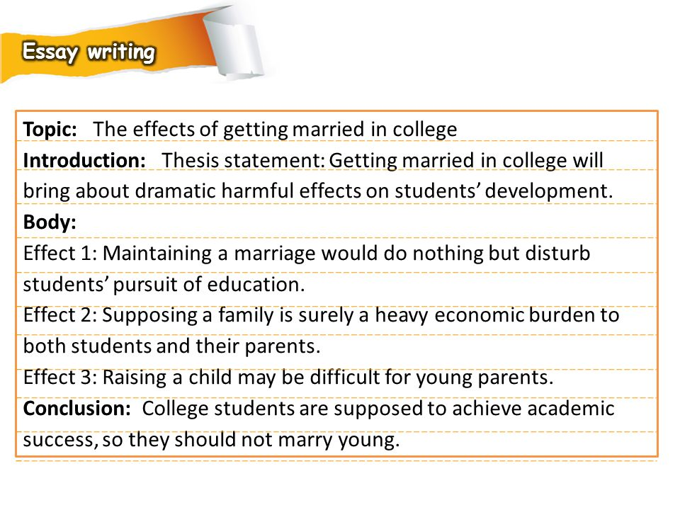 Topic: The effects of getting married in college