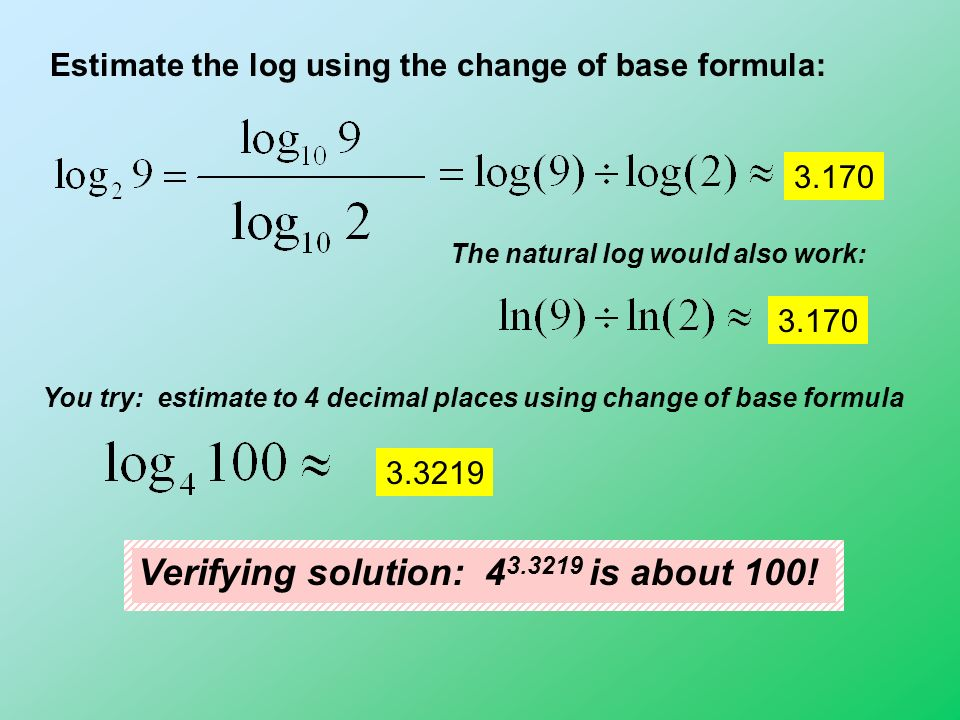 how to use the change of base formula