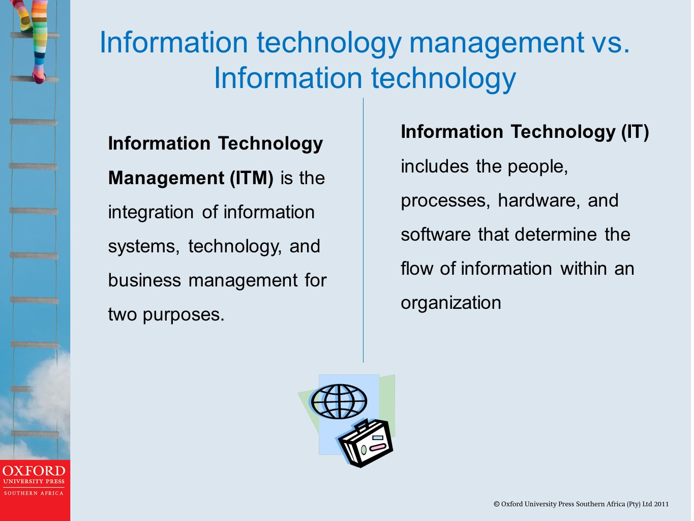 management of information technology It management is the discipline whereby all of the information technology resources of a firm are managed in accordance with its needs and priorities these resources may include tangible investments like computer hardware, software, data, networks and data centre facilities, as well as the staff who are hired to maintain them.