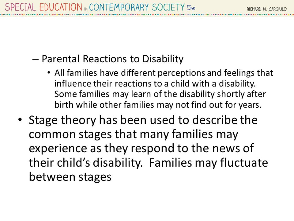 parental perceptions of child disability An exploratory study of parents' perceived educational  phrases or sentences relating to parents' perceptions  t heimanparents of children with disabilities: .