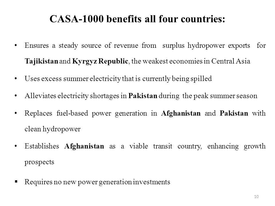 CASA-1000 benefits all four countries: