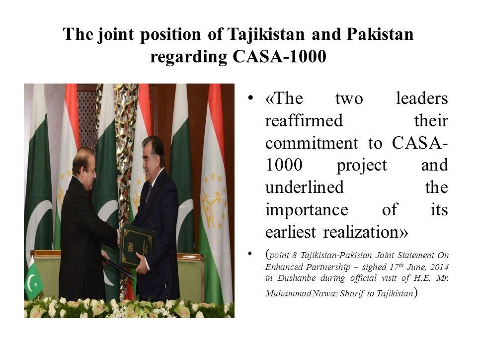 The joint position of Tajikistan and Pakistan regarding CASA-1000