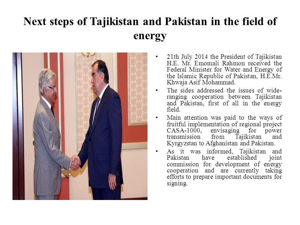 Next steps of Tajikistan and Pakistan in the field of energy