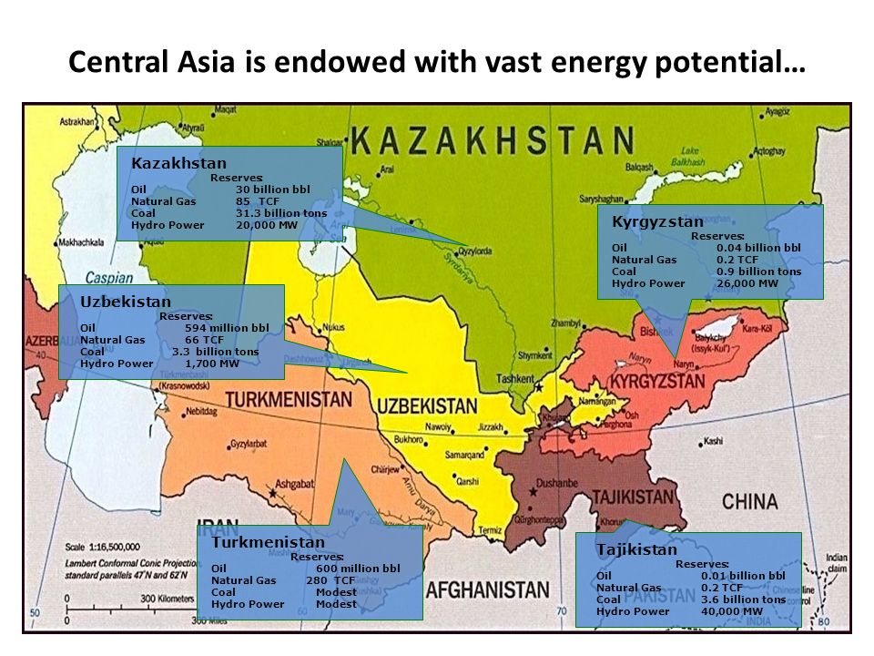 Central Asia is endowed with vast energy potential…