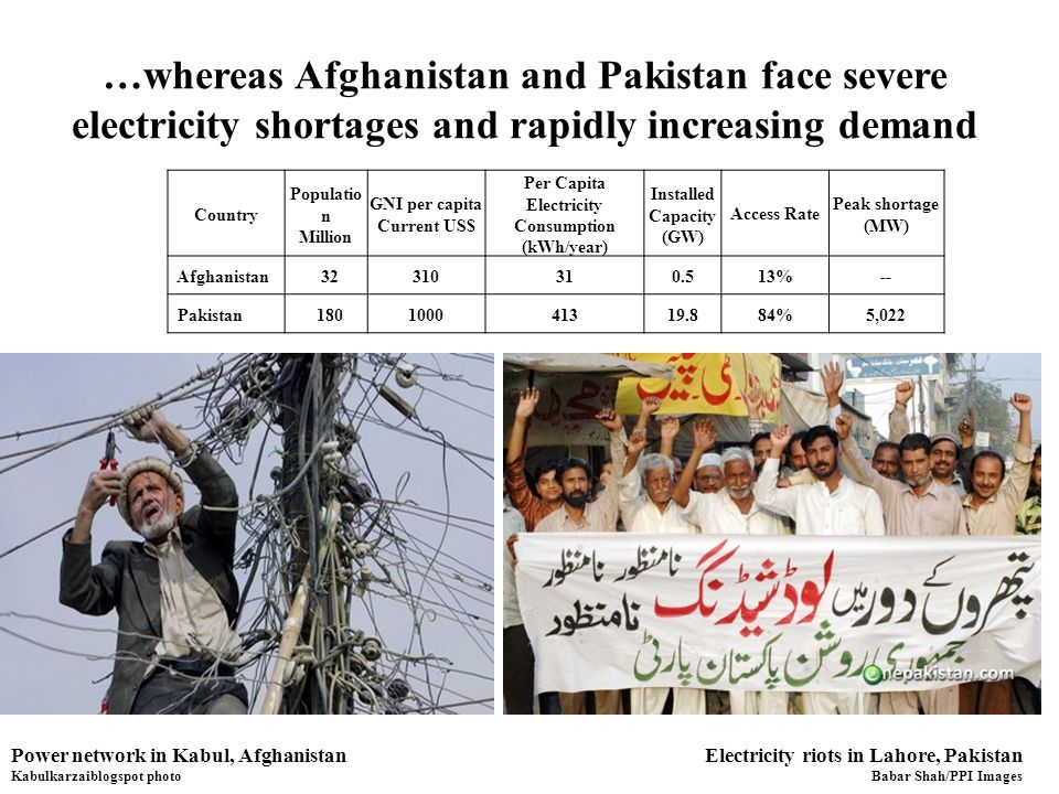 …whereas Afghanistan and Pakistan face severe electricity shortages and rapidly increasing demand