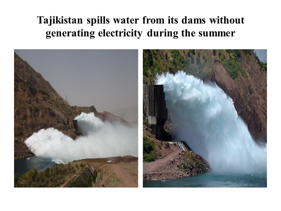 Tajikistan spills water from its dams without generating electricity during the summer