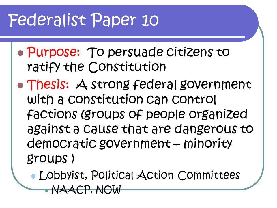 What was the purpose of the federalist papers novanet
