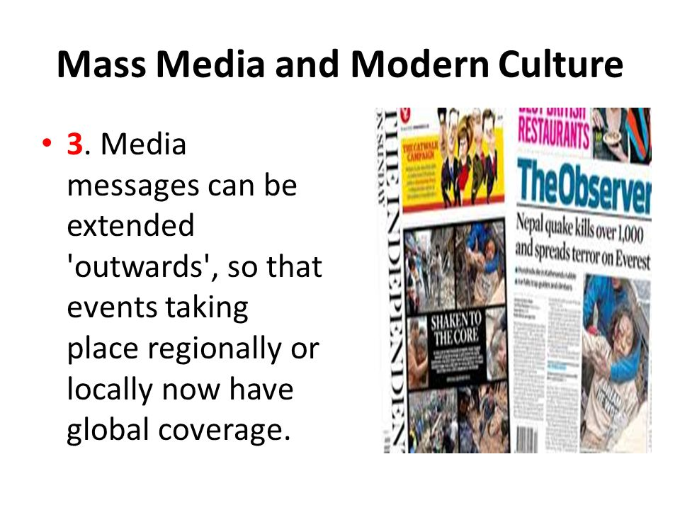 mass media and culture Christian discernment in a mass-mediated culture  following christ in a  media culture demands that we become aware of how we use the media and  how.