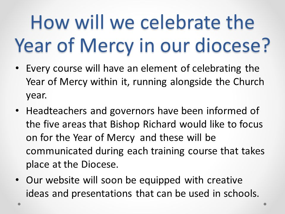 How will we celebrate the Year of Mercy in our diocese