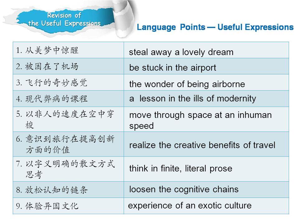 1. 从美梦中惊醒 2. 被困在了机场. 3. 飞行的奇妙感觉. 4. 现代弊病的课程. 5. 以非人的速度在空中穿. 梭. 6. 意识到旅行在提高创新. 方面的价值. 7. 以字义明确的散文方式.