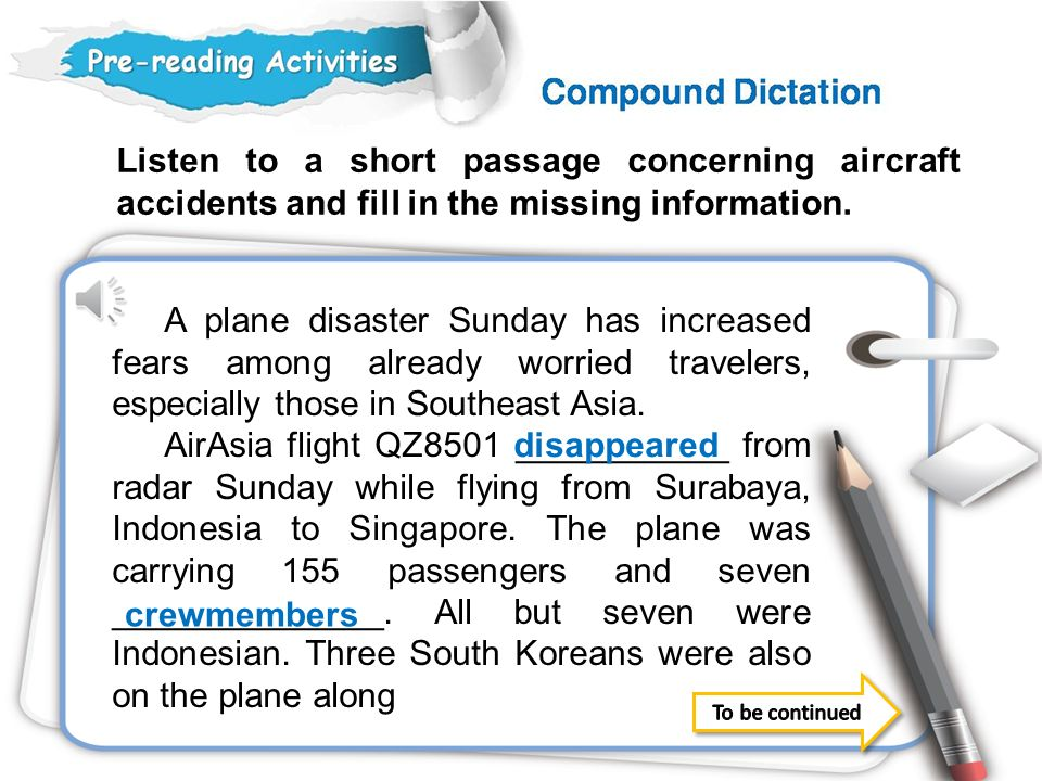 Listen to a short passage concerning aircraft accidents and fill in the missing information.
