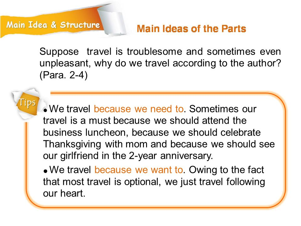 Suppose travel is troublesome and sometimes even unpleasant, why do we travel according to the author (Para. 2-4)
