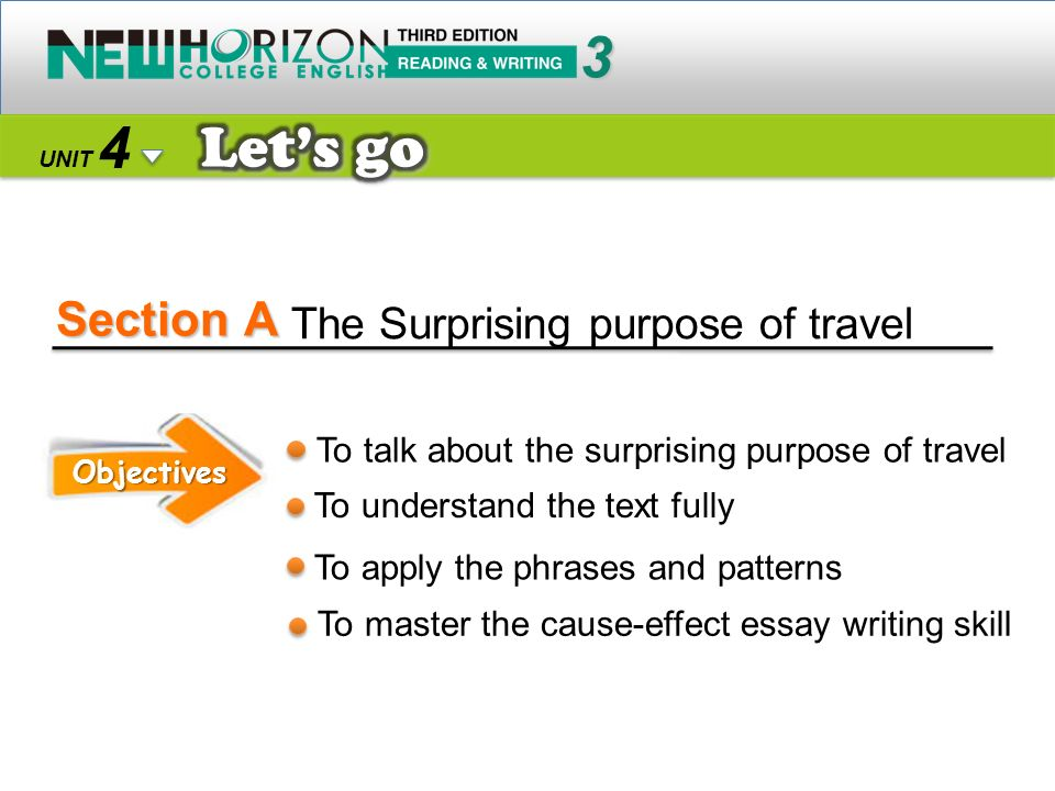 Section A 3 4 Let's go The Surprising purpose of travel