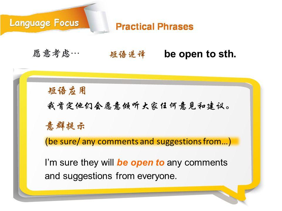 短语应用 意群提示 愿意考虑… 短语逆译 be open to sth. 我肯定他们会愿意倾听大家任何意见和建议。