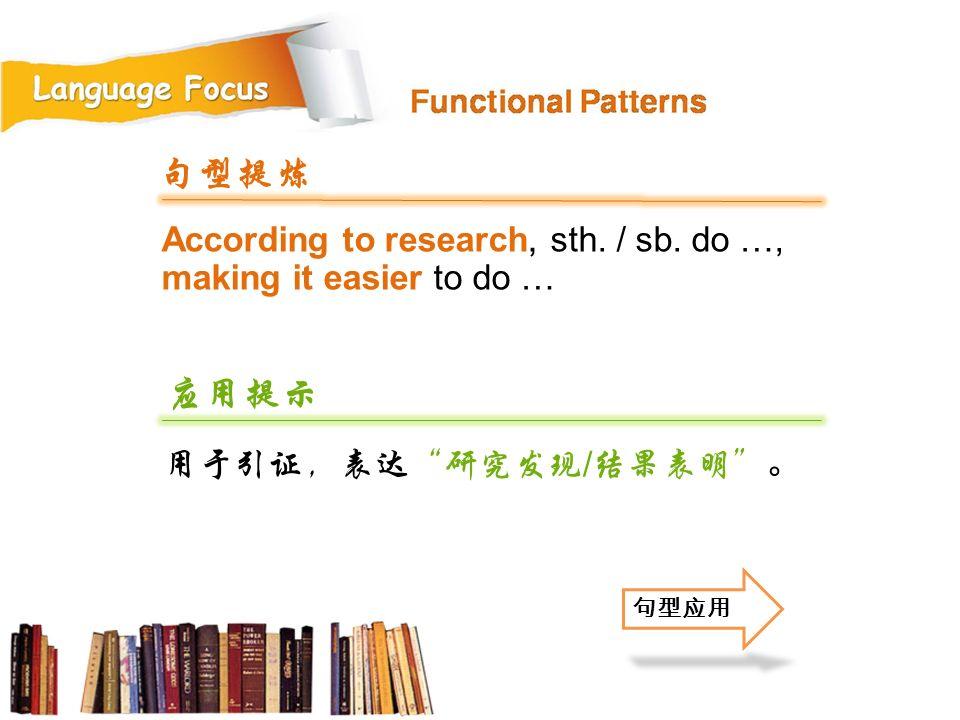 句型提炼 According to research, sth. / sb. do …, making it easier to do … 应用提示. 用于引证,表达 研究发现/结果表明 。 句型应用.