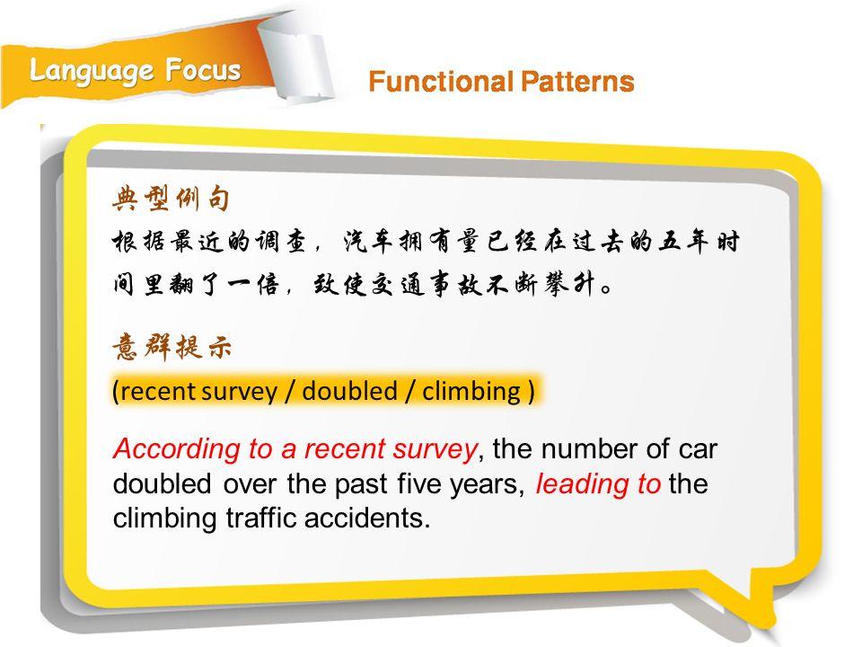 典型例句 意群提示 根据最近的调查,汽车拥有量已经在过去的五年时间里翻了一倍,致使交通事故不断攀升。