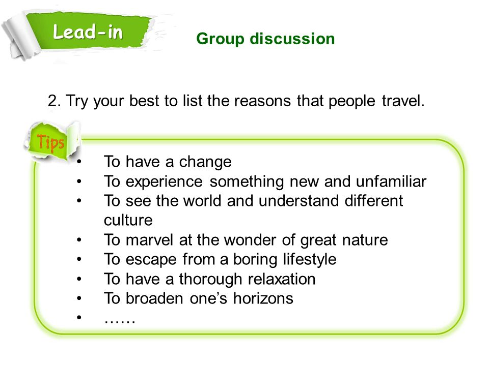 Lead-in Group discussion