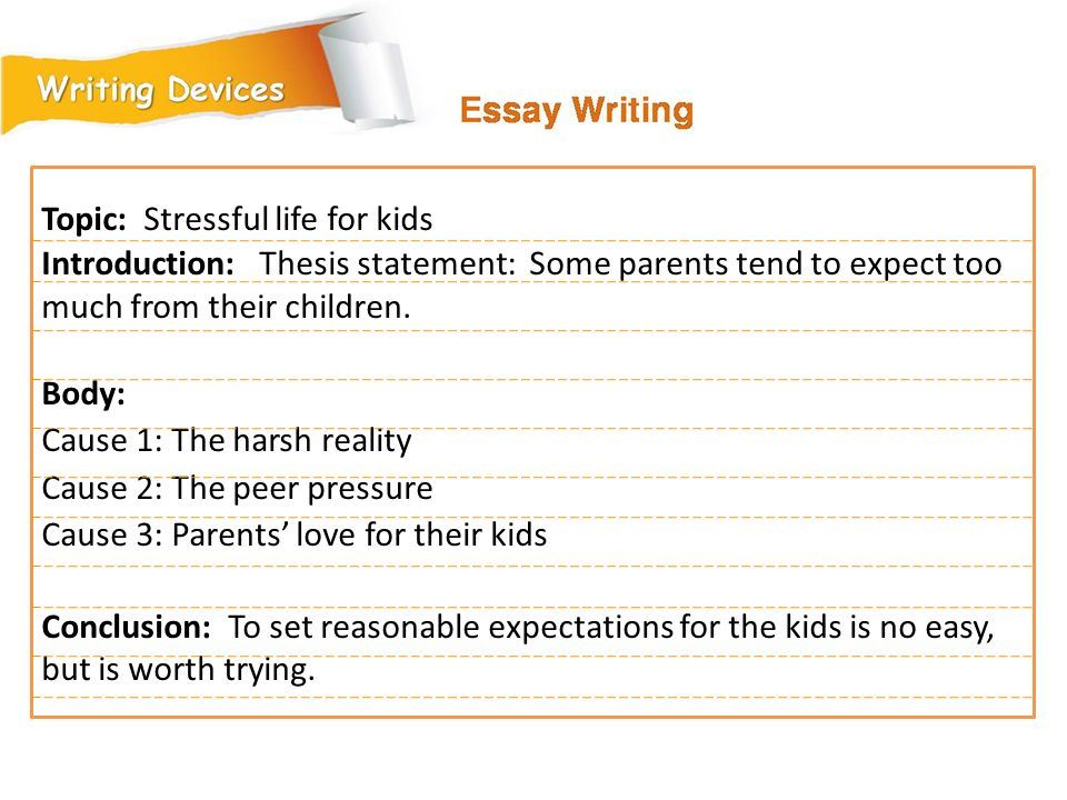 Topic: Stressful life for kids