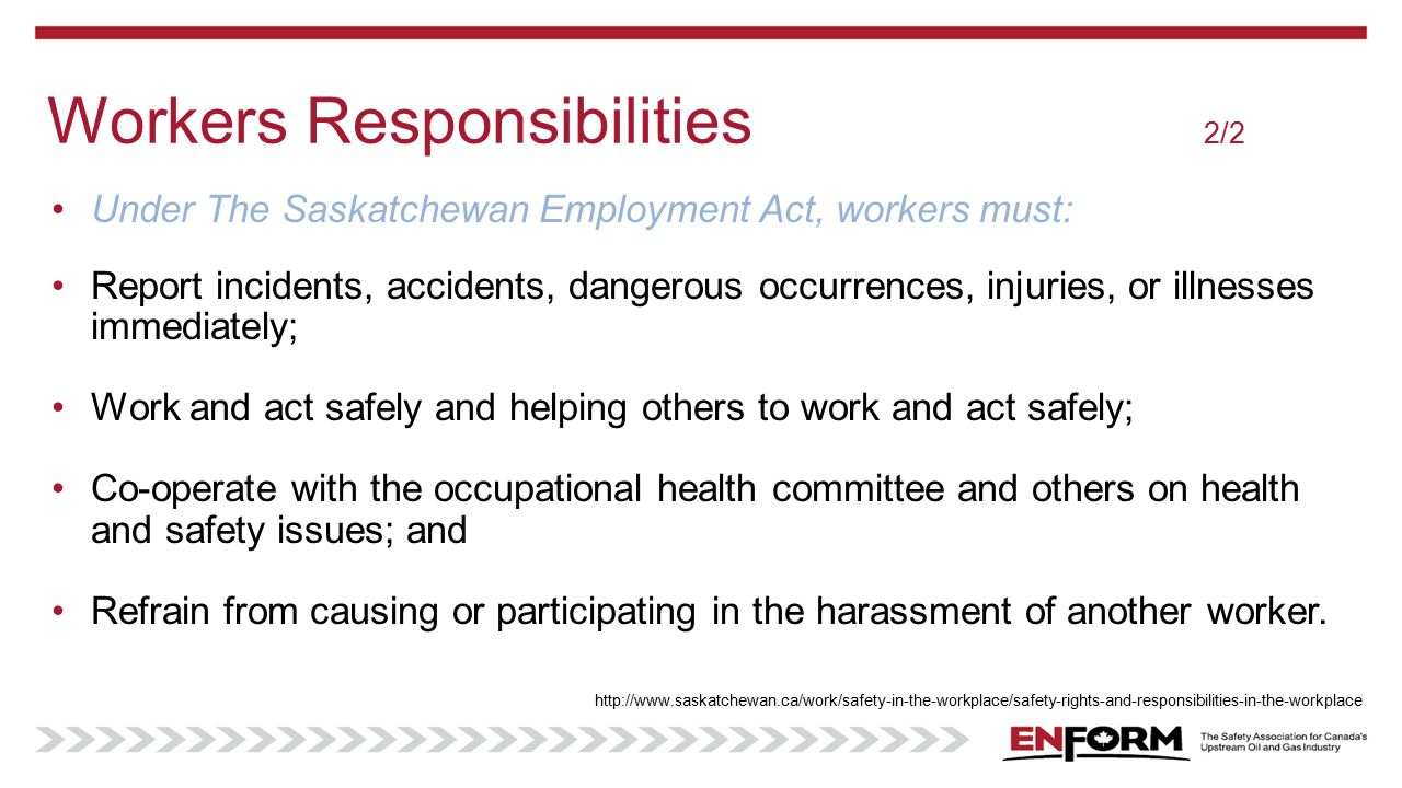 role of employees in prevention of accidents in workplace Research shows that workers who have been on the job for less than one   worker orientation guide from workplace safety & prevention services  in  addition, the workers may be unsure about their safety rights and responsibilities,  and  in 2013, nearly one-third of the nonfatal occupational injuries or.