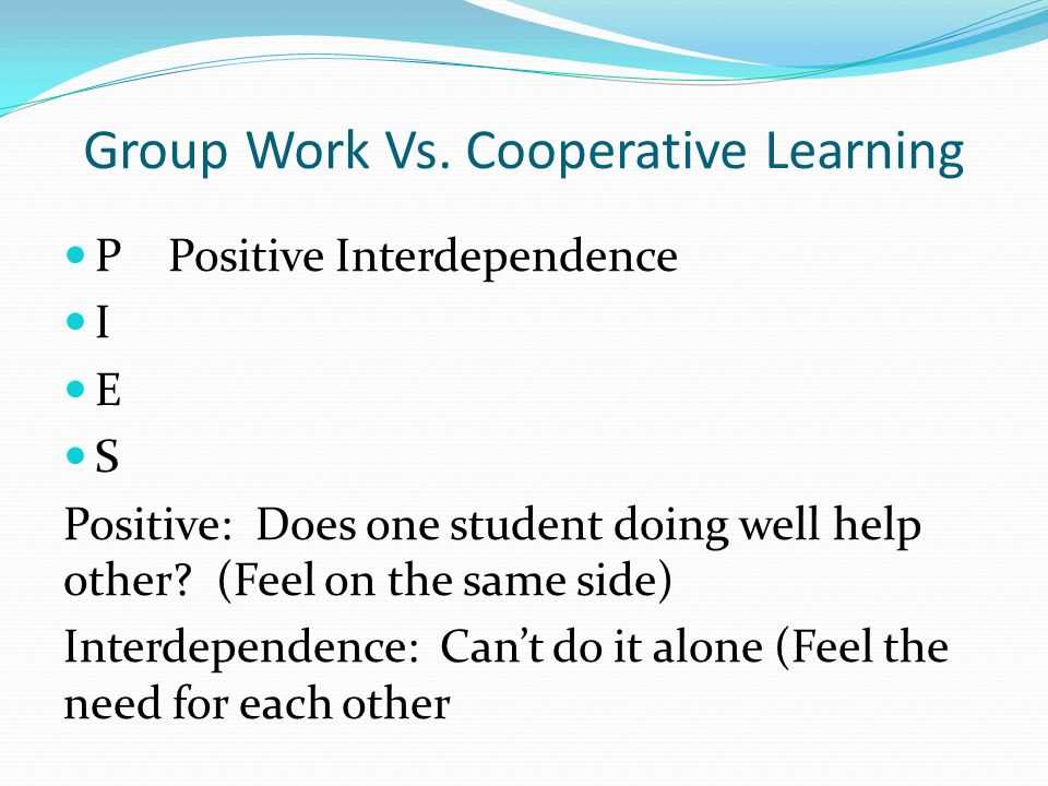 group work vs alone Each person in a dependent-level work group has his or her own job and works  under the close supervision of the boss the boss is in charge and tells the.