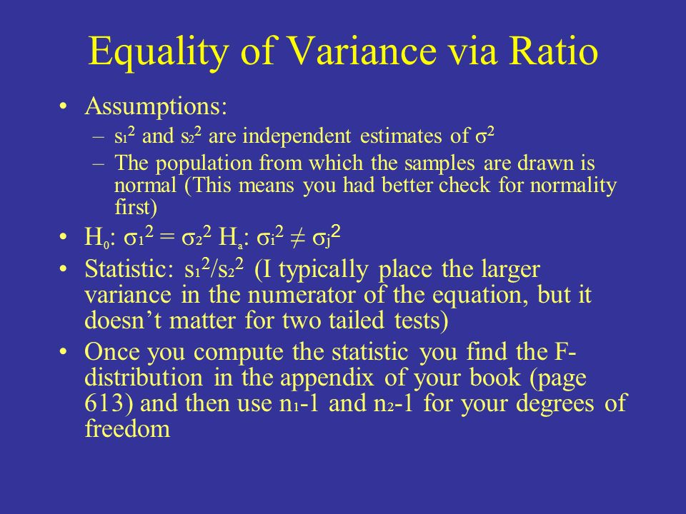 Equality of Variance via Ratio