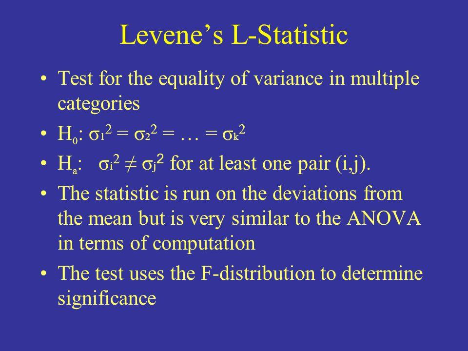 Levene's L-StatisticTest for the equality of variance in multiple categories. H0: σ12 = σ22 = … = σk2.