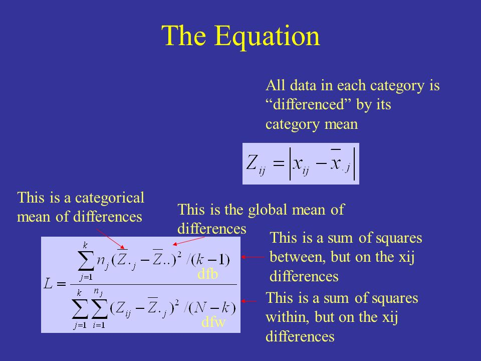 The Equation All data in each category is differenced by its category mean. This is a categorical mean of differences.