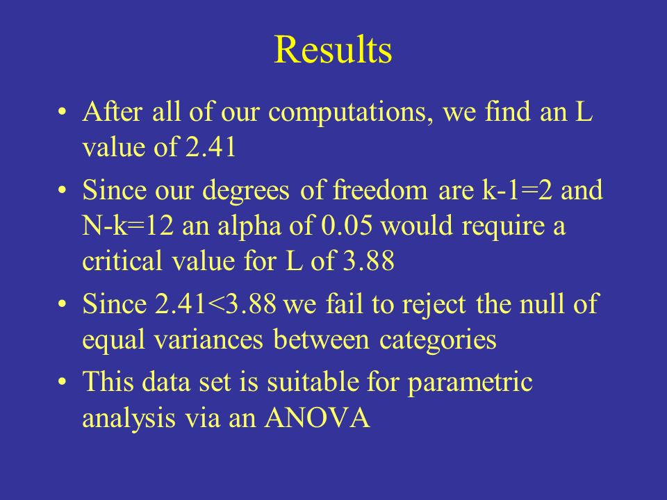 Results After all of our computations, we find an L value of 2.41