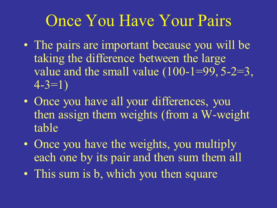 Once You Have Your Pairs