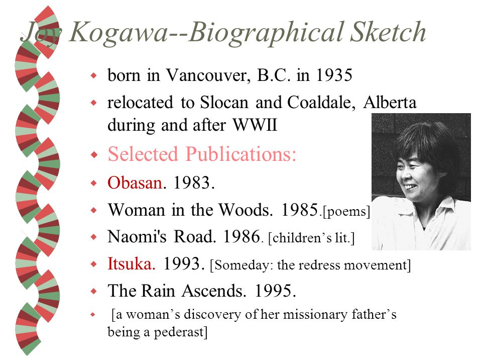 obasan criticism Joy kogawa's novel obasan represents the seminal fictional articulation of the japanese canadian internment during world war ii as such, a fairly extensive body of criticism has been devoted to the work.