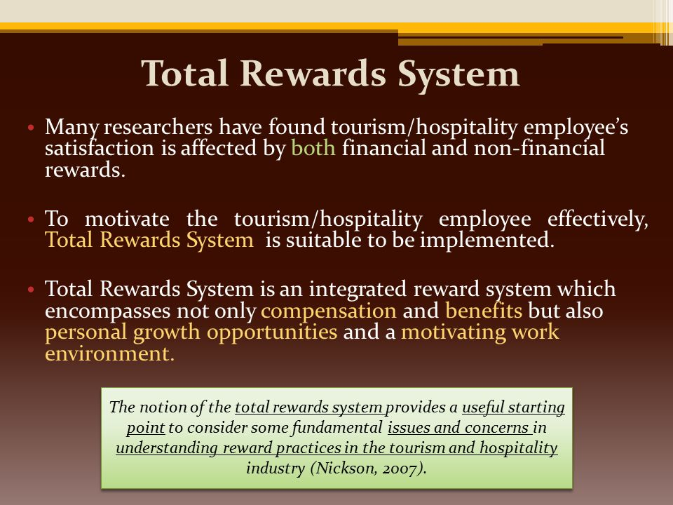 total reward system Members earn both reward credits and tier credits based on hotel stay,  has fully converted over to the total rewards system and now uses total rewards cards.