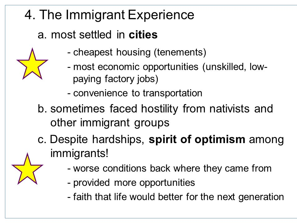 the challenges faced by immigrants when settling in america Problems faced by immigrants, after the us became an established nation, were similar to all eras of immigration first there was the language barrier.
