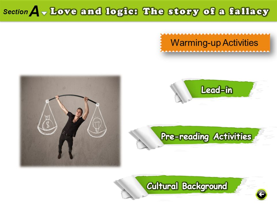 A Love and logic: The story of a fallacy Warming-up Activities Lead-in