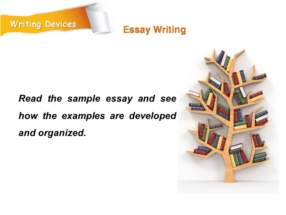 Read the sample essay and see how the examples are developed and organized.