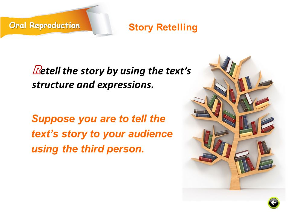 Retell the story by using the text's