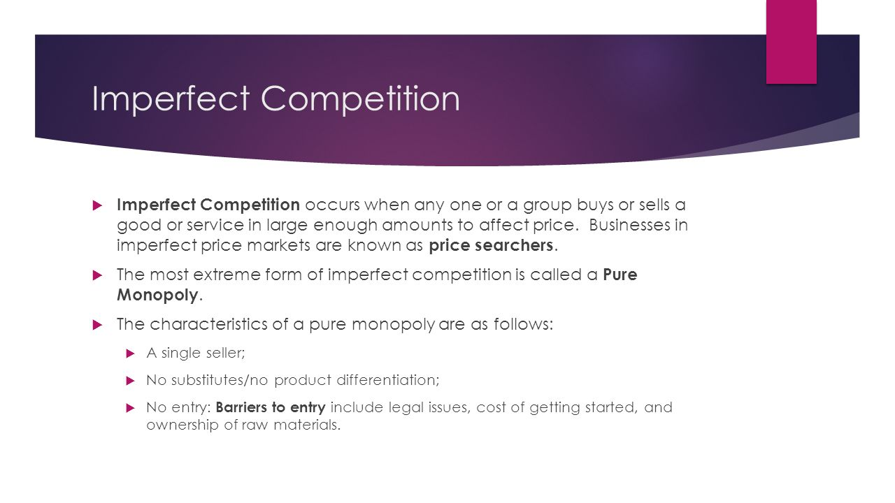 imperfect competition essay Learn the differences between perfect competition and imperfect competition and what types of markets are considered imperfectly competitive.