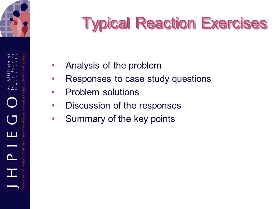 Typical Reaction Exercises