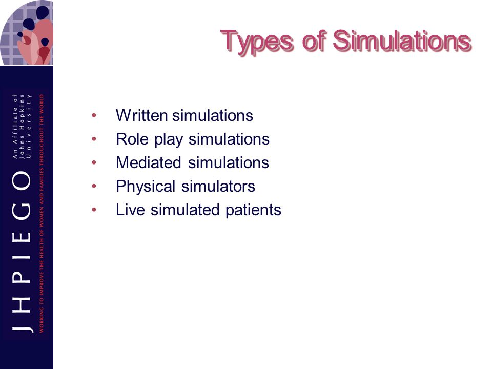 Types of Simulations Written simulations Role play simulations