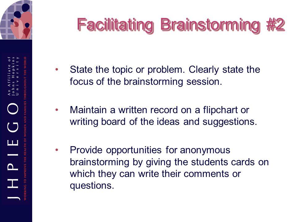 Facilitating Brainstorming #2