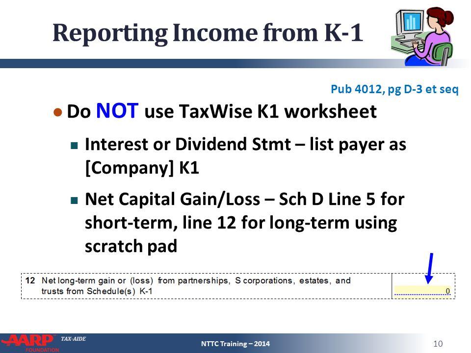 Schedule K1 Entire Lesson Pub 4491 Part 3 NTTC Training ppt – Capital Gains Worksheet 2014