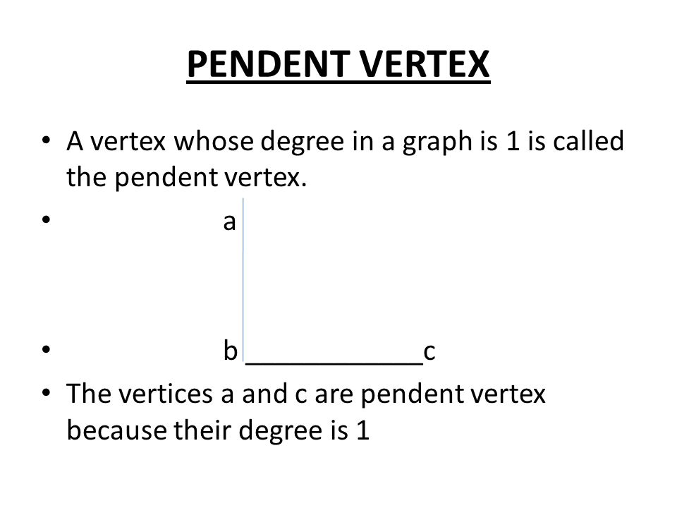 An introduction to graph theory ppt download pendent vertex a vertex whose degree in a graph is 1 is called the pendent vertex aloadofball Images
